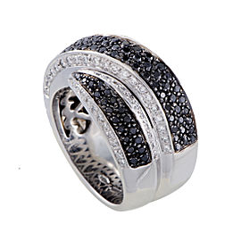 18K White Gold White and Black Diamond Cross-over Wide Band Ring Size 7.25