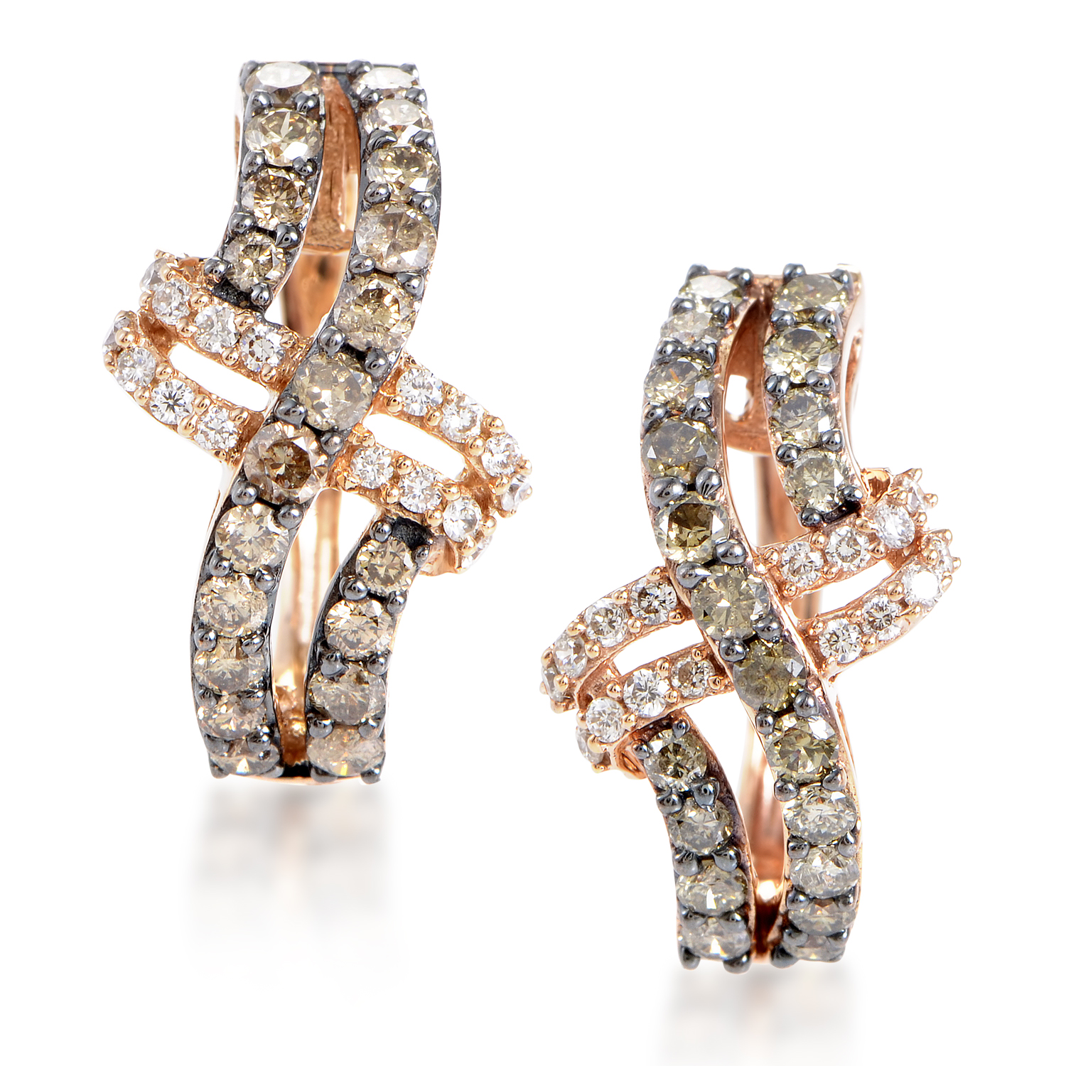 "Image of ""LeVian 14K Rose Brown Diamond Crossed Hoop Earrings"""