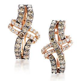 LeVian 14K Rose Brown Diamond Crossed Hoop Earrings