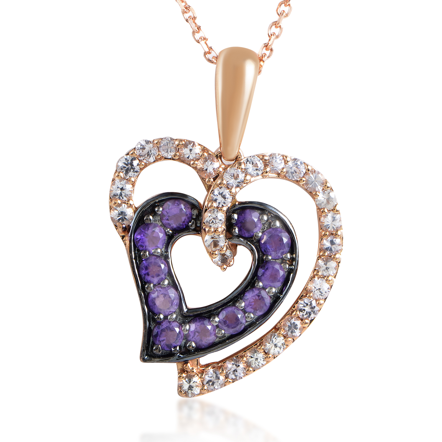 "Image of ""LeVian 14K Rose Gold White Sapphire & Amethyst Heart Pendant Necklace"""