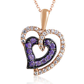 LeVian 14K Rose Gold White Sapphire & Amethyst Heart Pendant Necklace