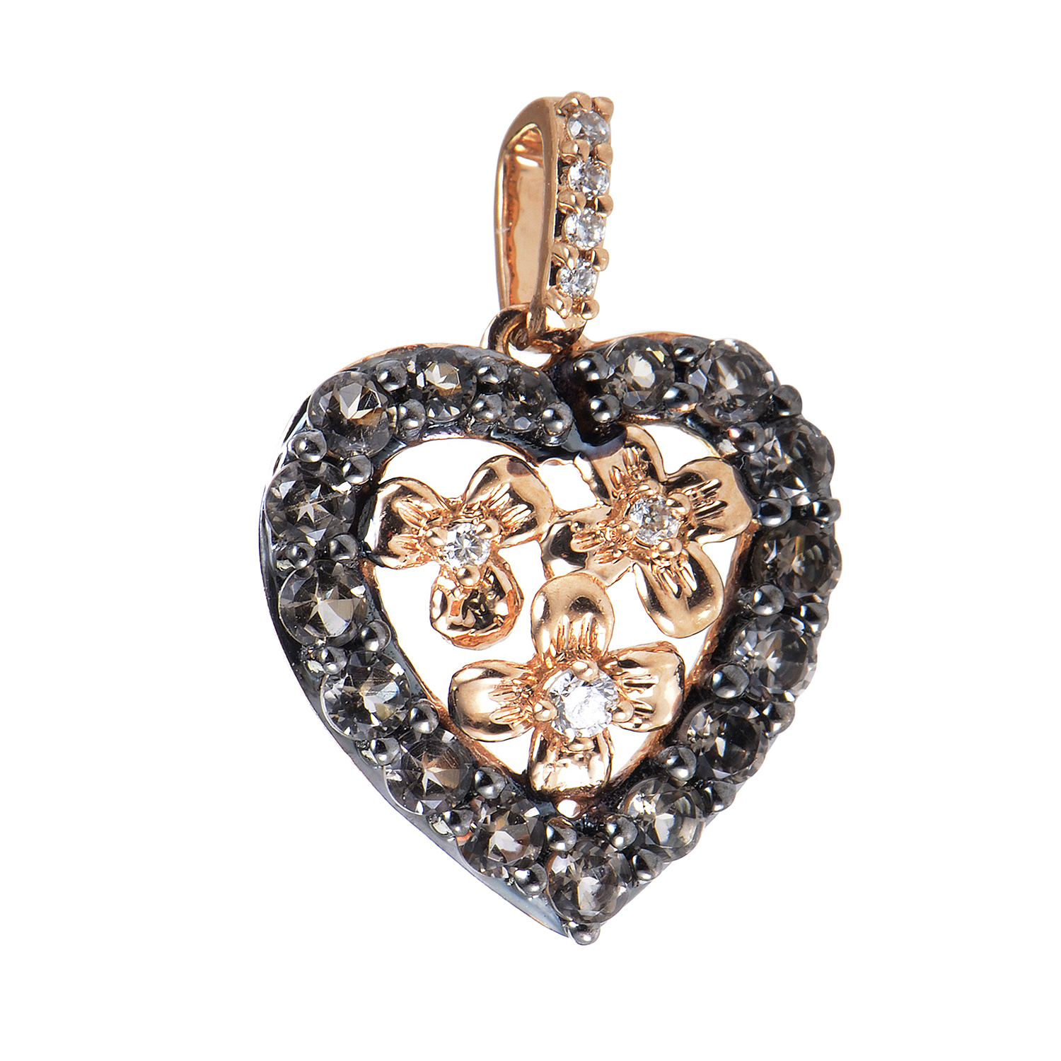 "Image of ""LeVian 14K Rose Gold Diamond & Smokey Quartz Heart Pendant"""
