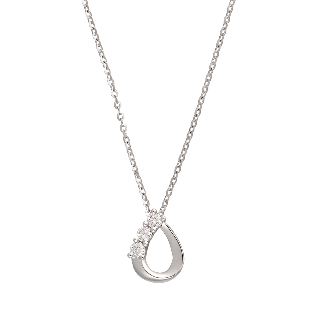 "Image of ""14K White Gold Pear Shape Triple 0.22Ct Diamond Pendant Necklace"""