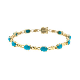 14k Yellow Gold Turquoise Bracelet