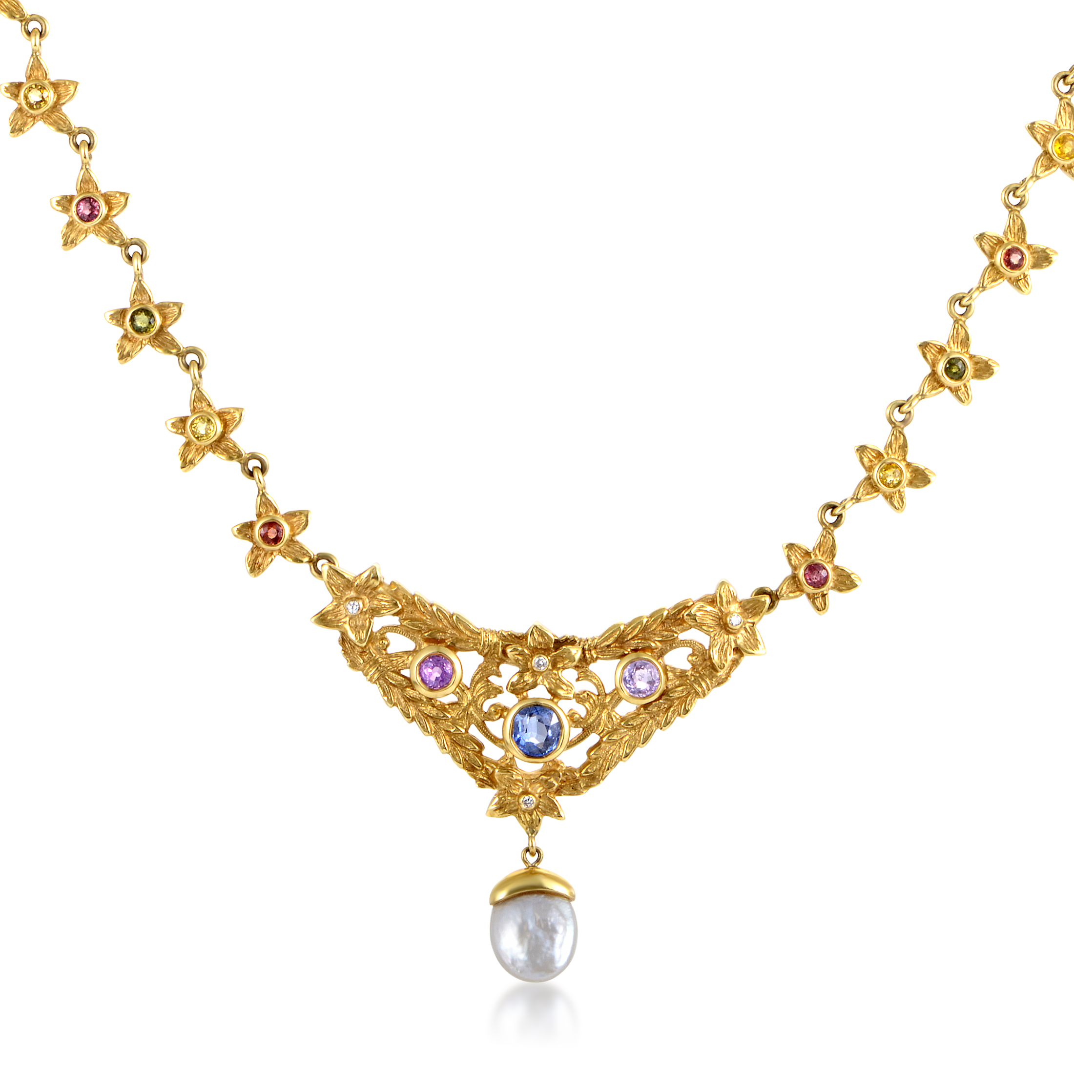 "Image of ""Loree Rodkin 18K Yellow Gold Diamond Multi-Sapphire & Pearl Necklace"""