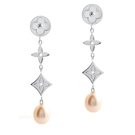 Louis Vuitton Idylle Blossom 18K White Gold Pink Pearl Drop Earrings