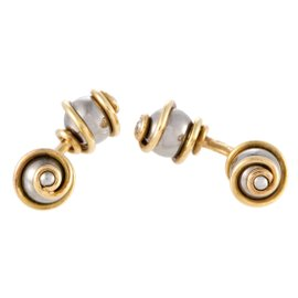 Louis Vuitton 18K Yellow Gold and Stainless Steel Cufflinks