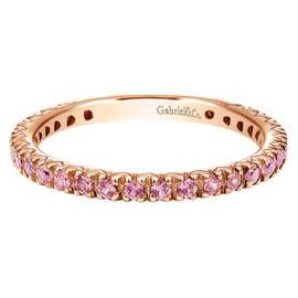 Gabriel & Co. 14K Rose Gold with 0.55ct Pink Sapphire Band Ring Size 6.5