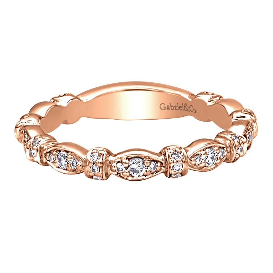 "Image of ""Gabriel & Co. 14K Rose Gold with .30ct Diamond Band Ring Size 6.5"""