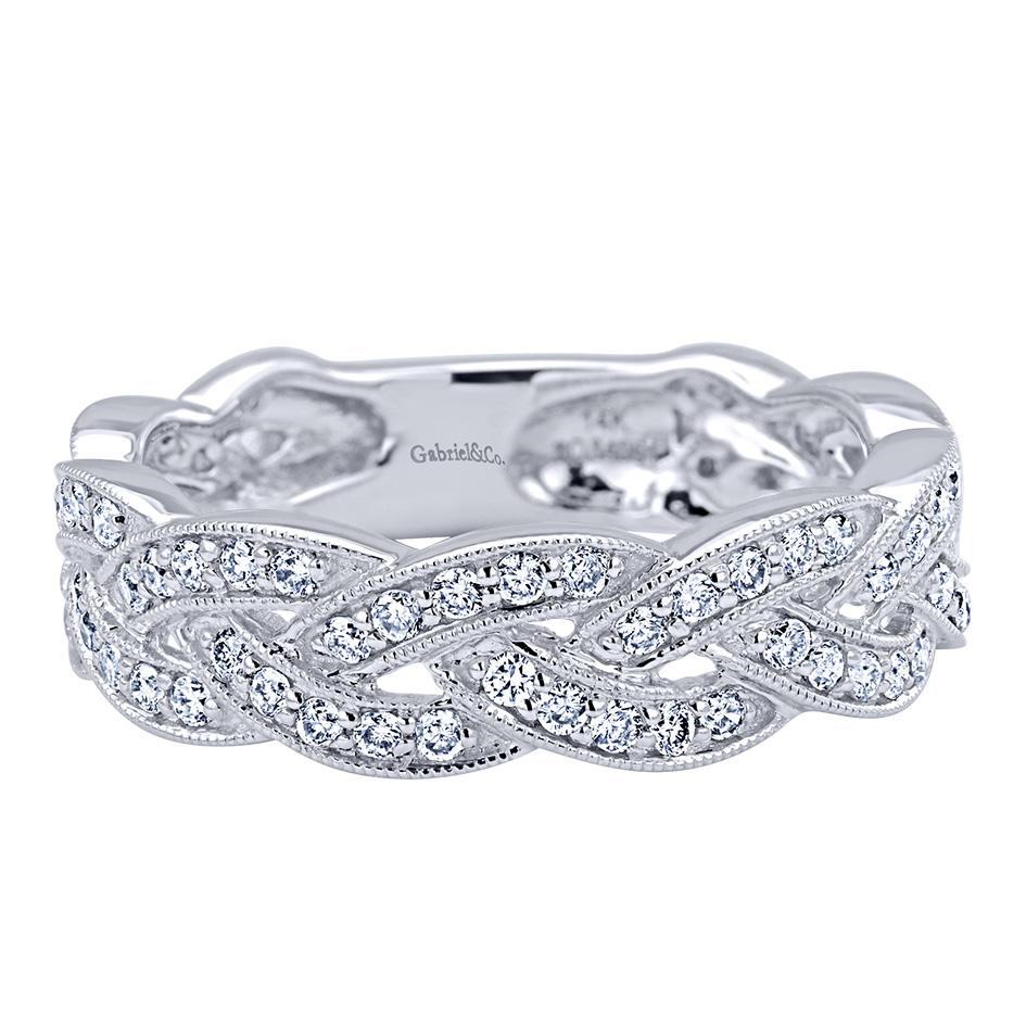 "Image of ""Gabriel & Co. 14K White Gold .58ct Diamond Braid Band Ring Size 6.5"""