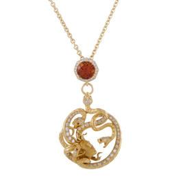 Magerit Mythology Medusa 18K Yellow Gold Diamond and Gemstone Pendant Necklace