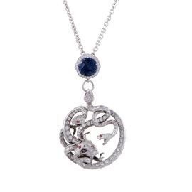 Magerit Mythology Medusa 18K White Gold Diamond and Gemstone Pendant Necklace
