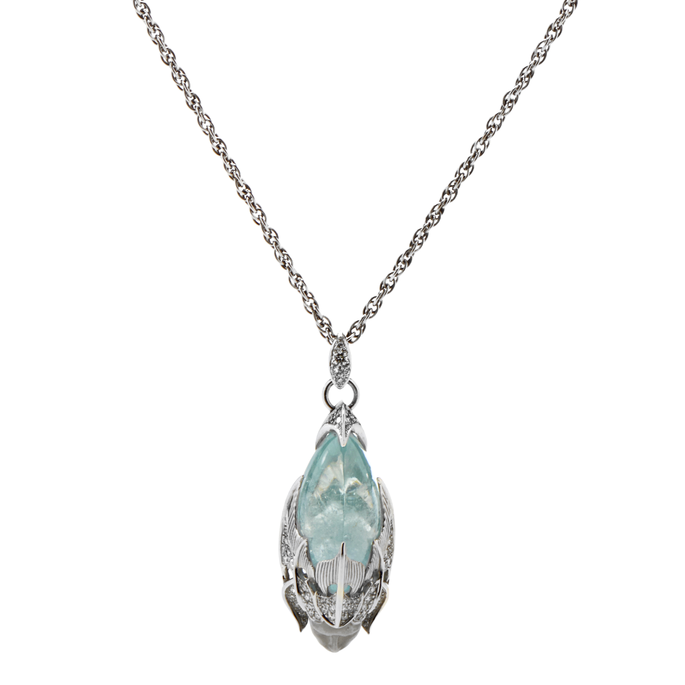 "Image of ""Magerit 18K White Gold Atlantis Sirena Espuma Diamond & Aquamarine"""