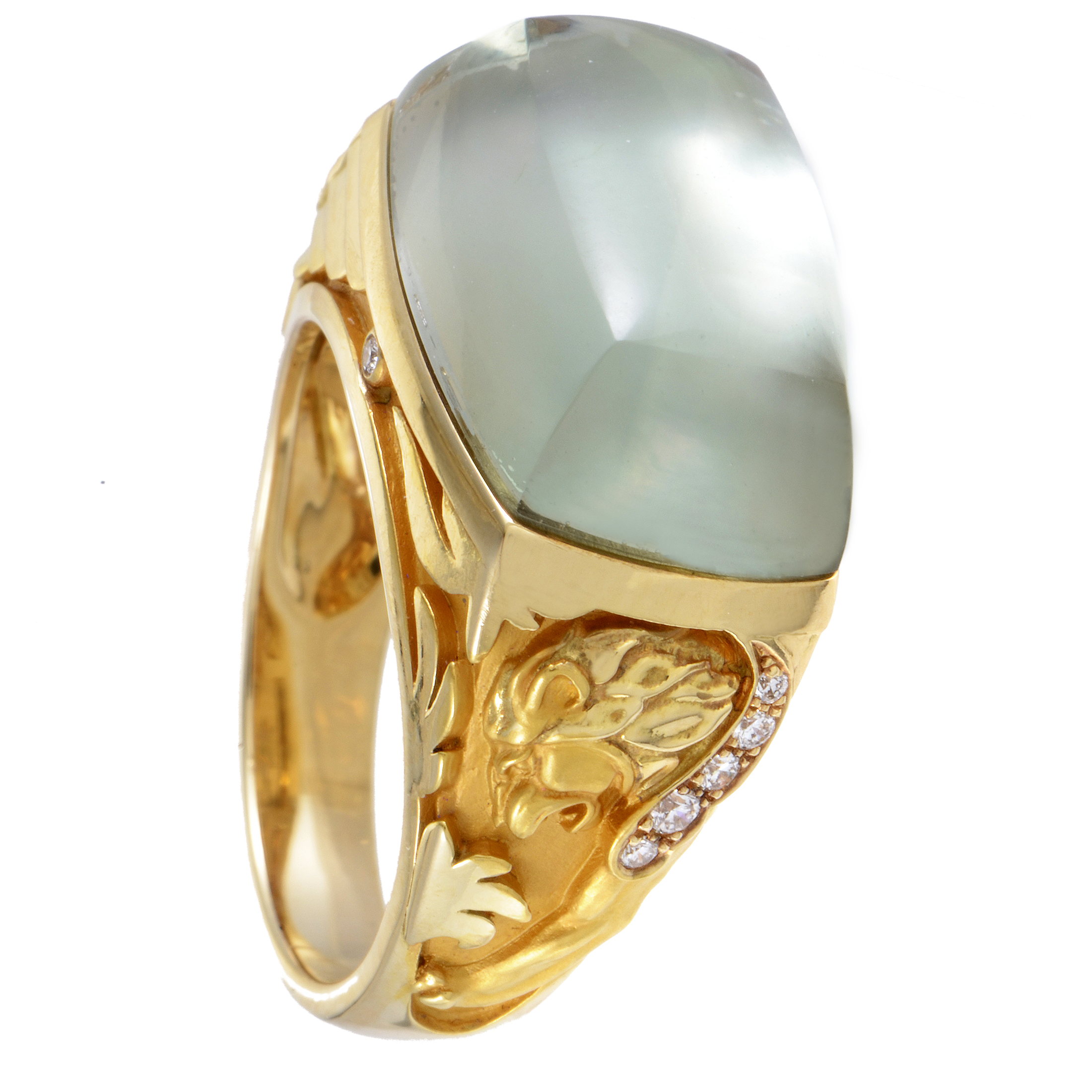 "Image of ""Magerit 18K Yellow Gold Babylon Caramelo Small Diamond Green Quartz"""