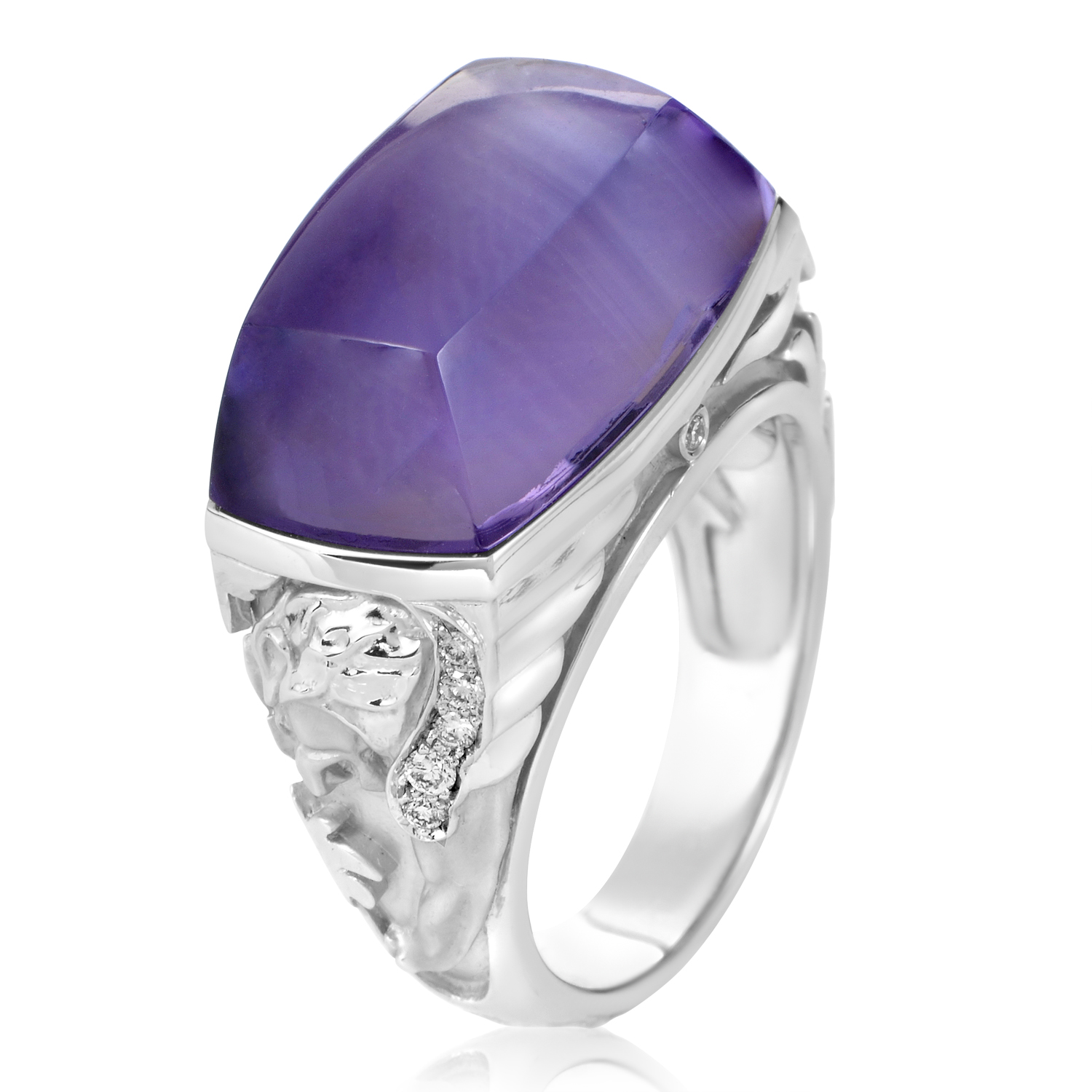 "Image of ""Magerit 18K White Gold Babylon Caramelo Mini Diamond & Amethyst Ring"""