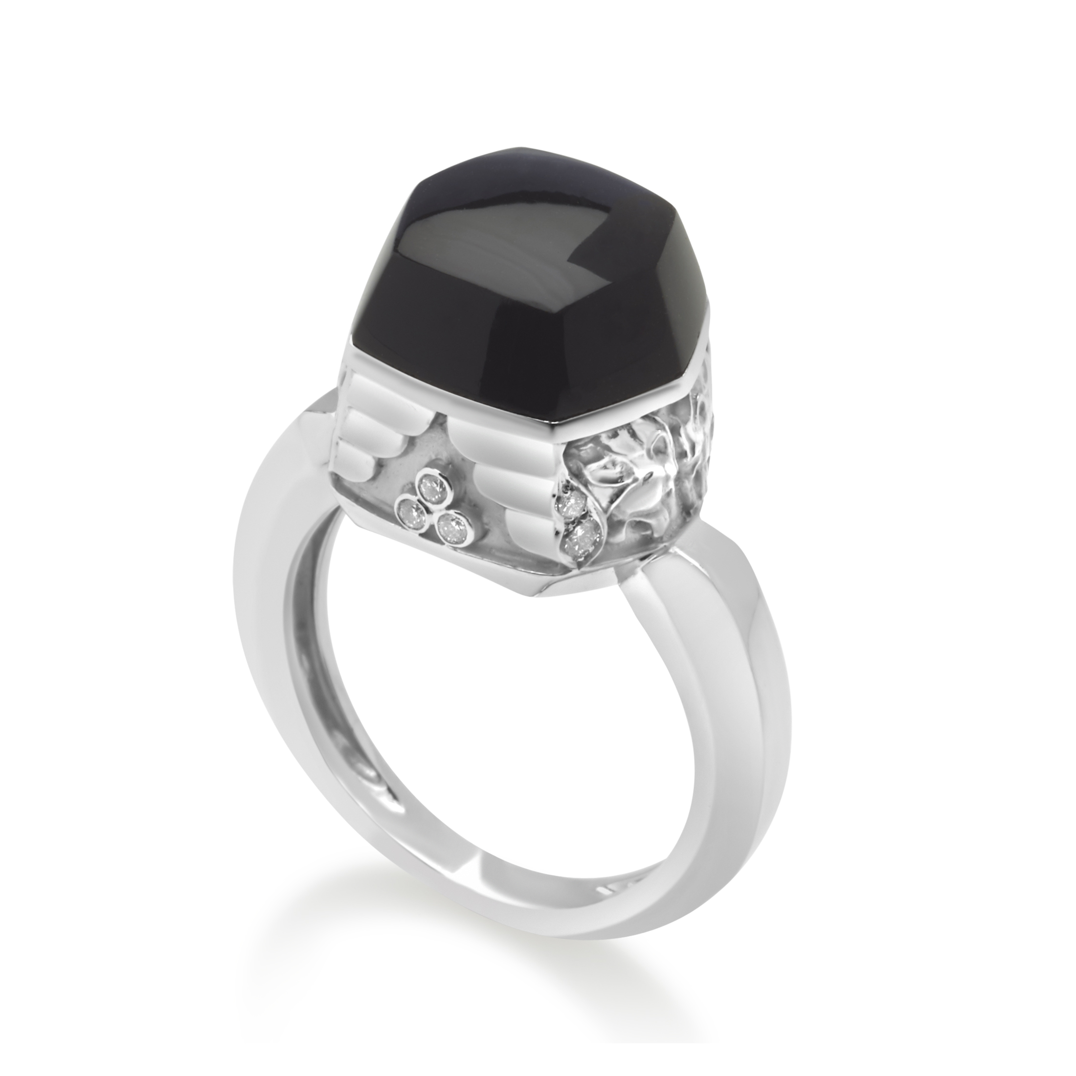 "Image of ""Magerit 18K White Gold Babylon Caramelo Mini Diamond & Onyx Ring Size"""