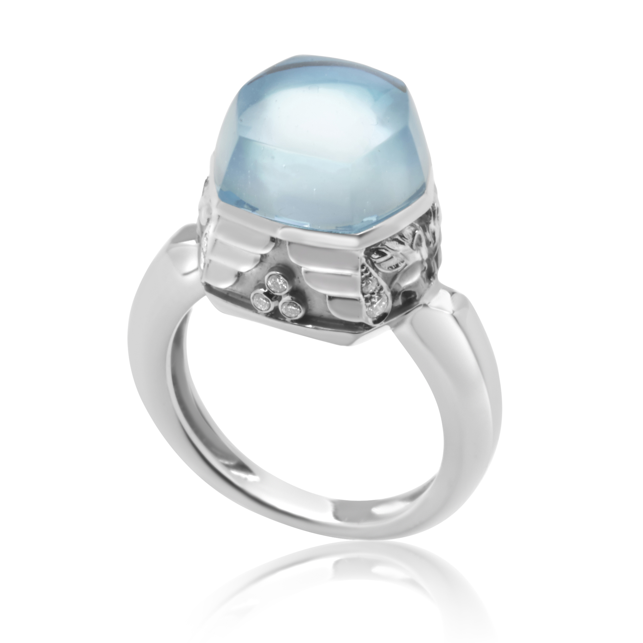 "Image of ""Magerit 18K White Gold Babylon Caramelo Mini Diamond & Topaz Ring Size"""
