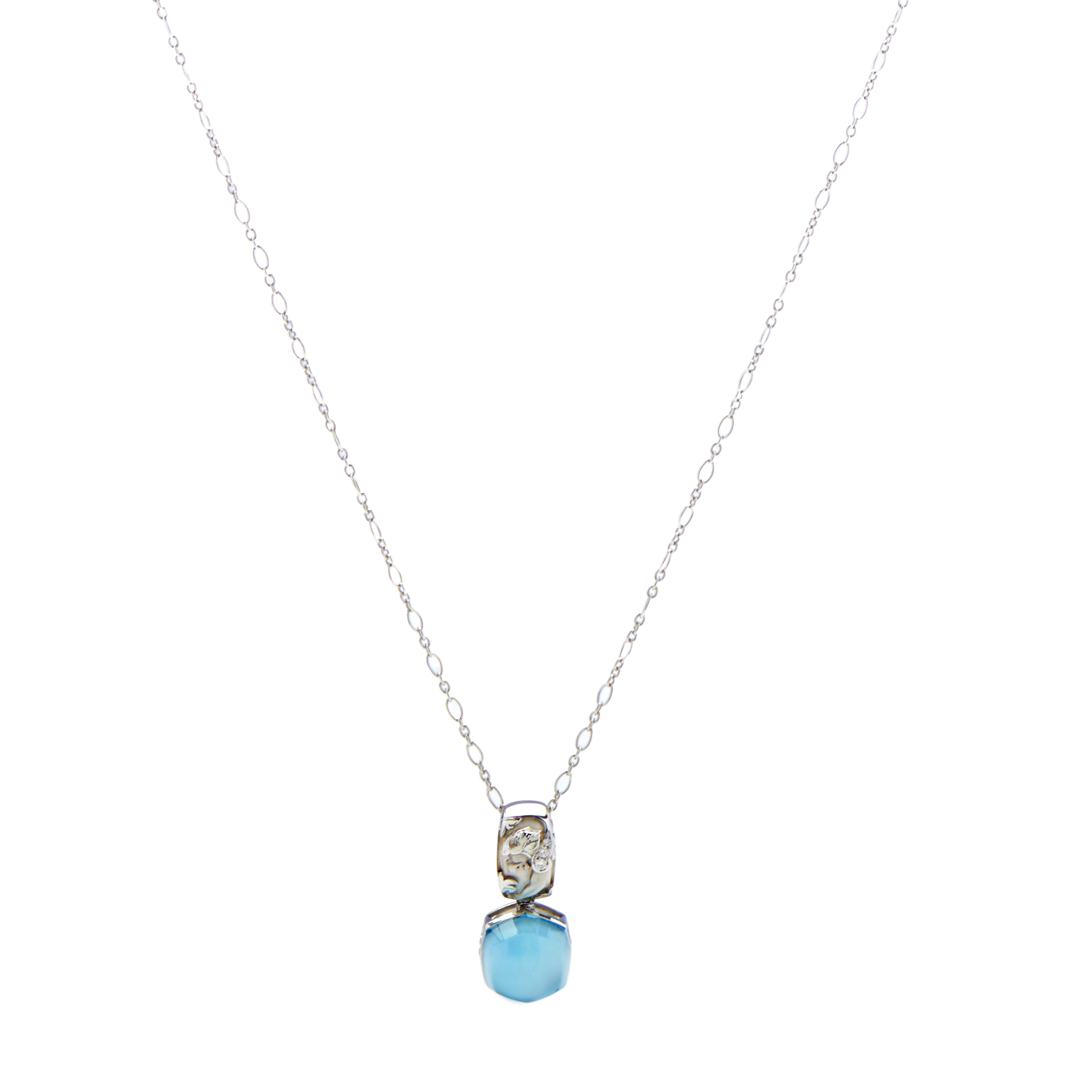 "Image of ""Magerit 18K White Gold Babylon Caramelo Mini Diamond & Topaz Pendant"""