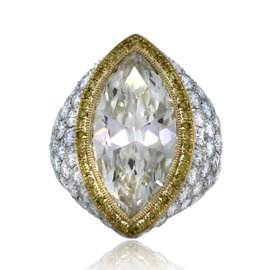 Platinum & 18K Yellow Gold 11.57ct Diamond Engagement Ring Size 6.75