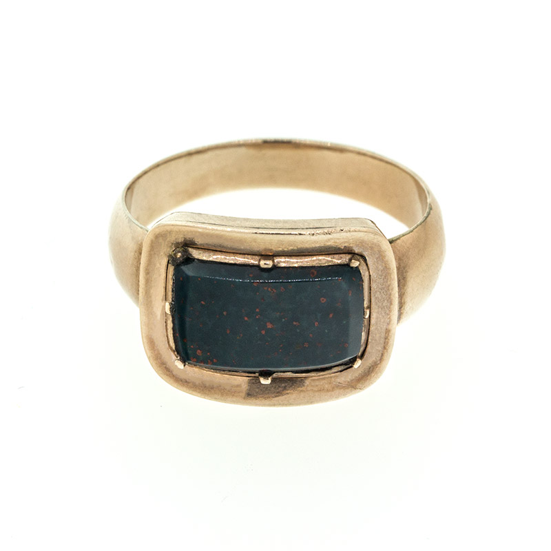 "Image of ""10k Rose Gold Gregorian Blood Stone Mourning Ring"""