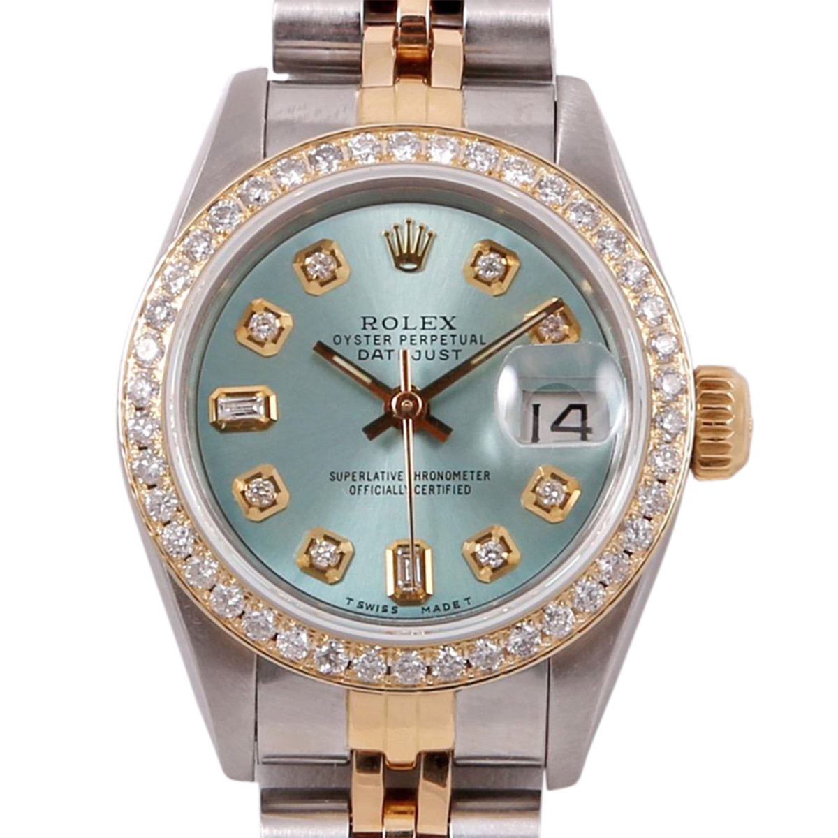 "Image of ""Rolex Datejust Stainless Steel & 18k Yellow Gold and Diamond Ice Blue"""