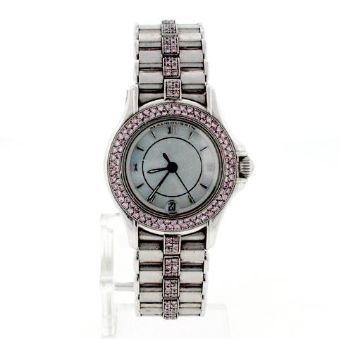 """Image of """"Maubossin 18K White Gold Pink Diamonds Womens 26mm Watch"""""""