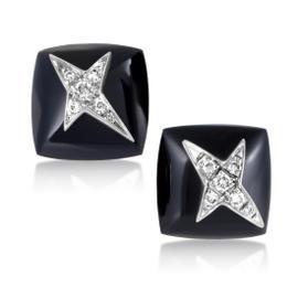 Mauboussin 18K White Gold Diamond and Onyx Stud Earrings