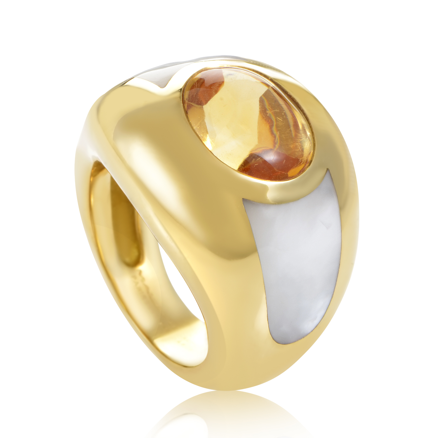 "Image of ""Mauboussin 18K Yellow Gold Citrine & Mother of Pearl Bombe Ring Sz 4.5"""