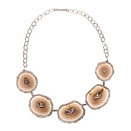 Alberto Juan Sterling Silver Bezel Set Banded Agate Necklace