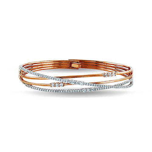 "Image of ""Simon G 18K Rose Gold 1.48ct Diamond Bangle Bracelet"""
