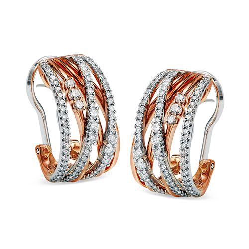 "Image of ""Simon G 18K Rose & White Gold 0.90ct Diamond Earrings"""