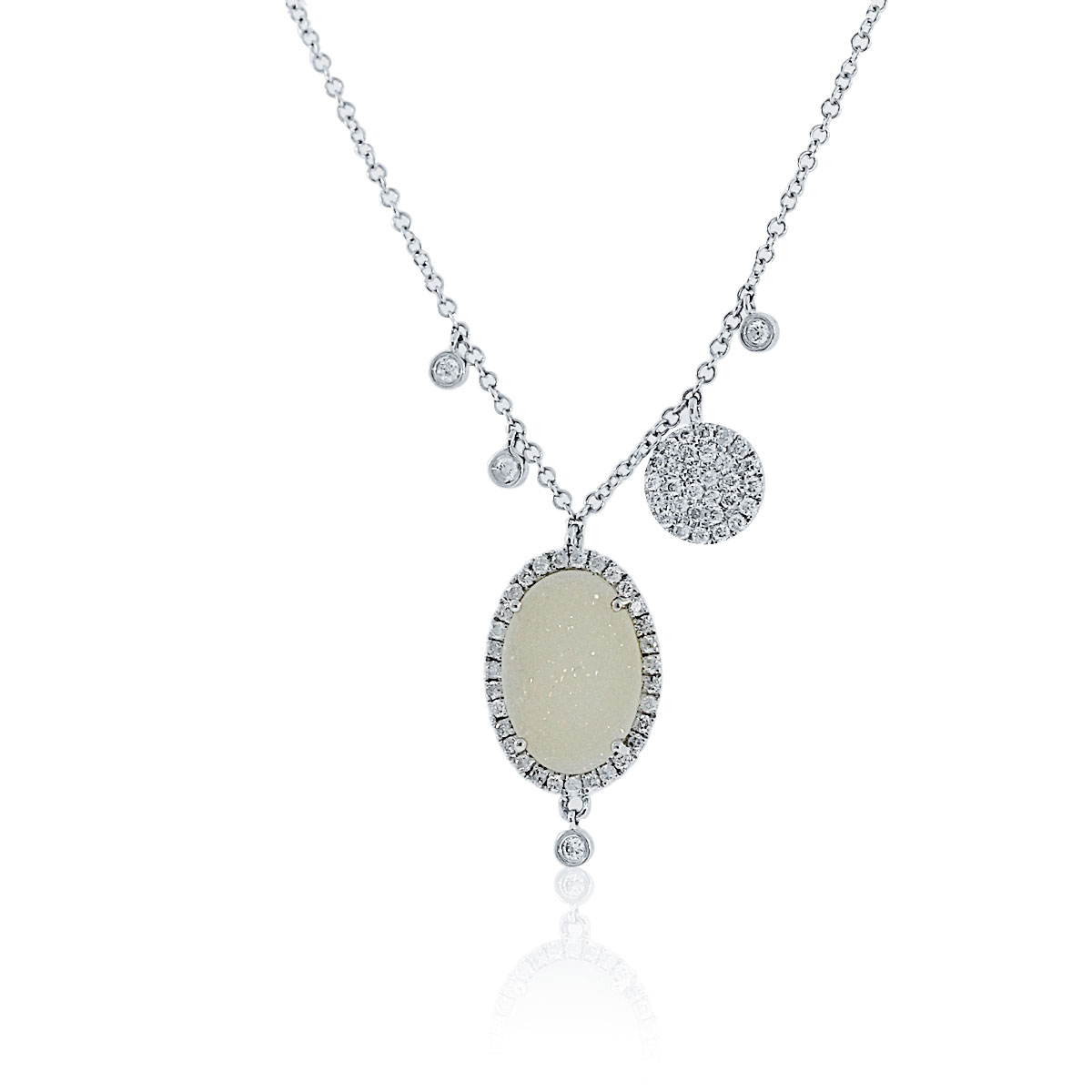 "Image of ""Meira T 14K White Gold Diamond & Druzy Necklace"""