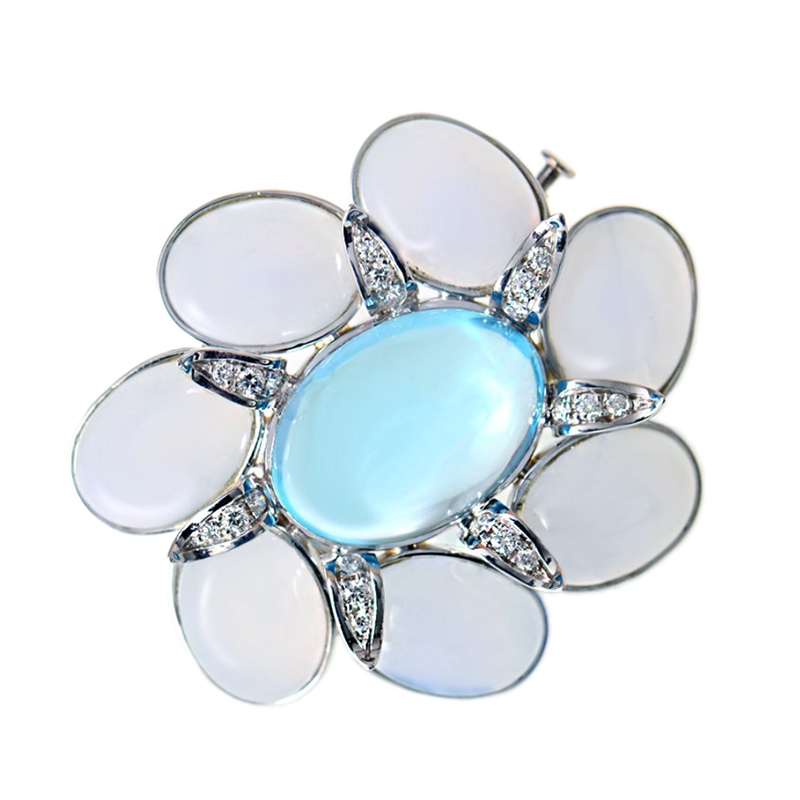 "Image of ""Faraone Mennella 18K White Gold Diamond Topaz Pin"""