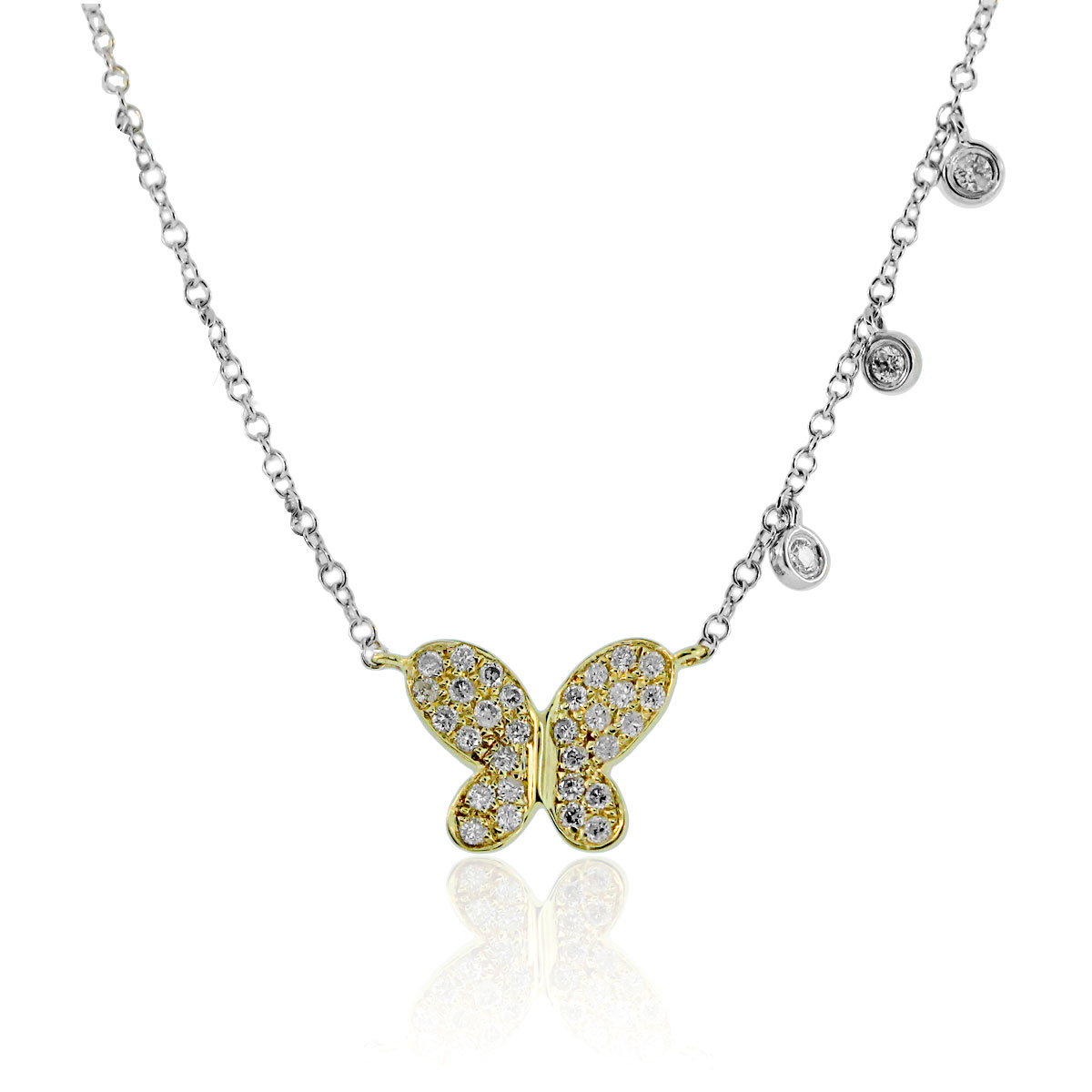 "Image of ""Meira T Two-Tone 14K Yellow Gold & 14K White Gold Diamond Necklace"""