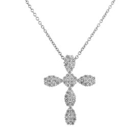18K White Gold Diamond Pave Cross Pendant Necklace