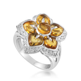 18K White Gold Diamond & Citrine Flower Ring