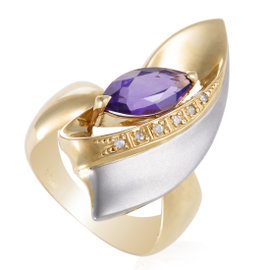 18K Yellow and White Gold Diamond and Amethyst Cocktail Ring 7.0