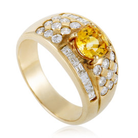 18K Yellow Gold Diamond Pave and Yellow Sapphire Band Ring Size 7.25