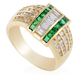 18K Yellow Gold Diamond and Emerald Band Ring Size 8.75
