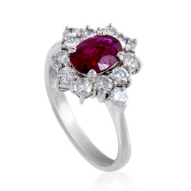 Platinum Diamond and Ruby Ring Size 6.75
