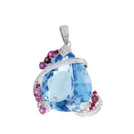 18K White Gold Diamond, Topaz & Pink Sapphire Pendant