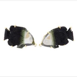 18K Yellow Gold Diamond, Aquamarine & Onyx Fish Cufflinks