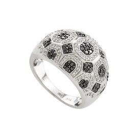 18K White Gold Black & White Diamond Pave Dome Ring