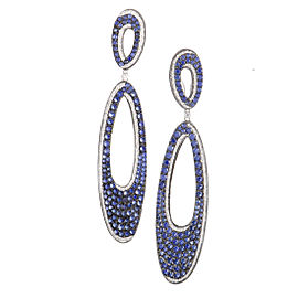 French Collection 18K White Gold Diamond and Sapphire Pave Drop Earrings