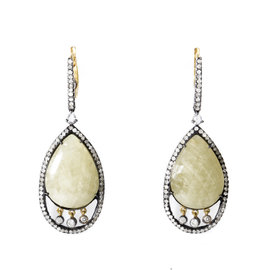 18K Gold & Stainless Steel Yellow Sapphire Diamond Earrings