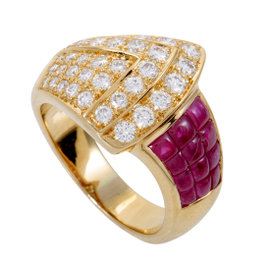 18K Yellow Gold with Diamond Pave and Ruby Ring Size 6.75