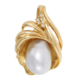 18K Yellow Gold Diamond and White Pearl Enhancer Pendant