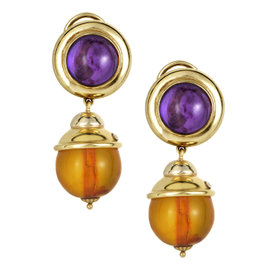 18K Yellow Gold Amethyst & Garnet Earrings
