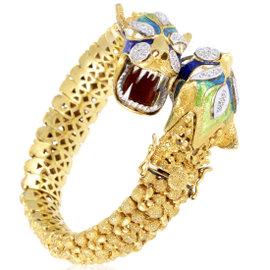 18K Multi-Tone Gold Enameled Diamond Dragon Heads Bangle Bracelet