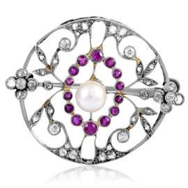Platinum Precious Gemstone & Pearl Brooch